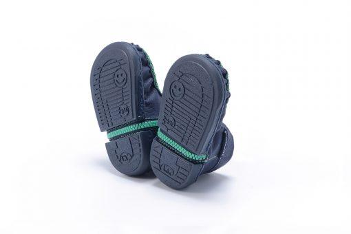 Walkkings-Zip-Around-Baby-Kids-Todder-First-Step-Shoes-Dark-Blue-Bottom