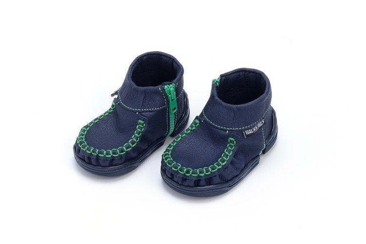 Walkkings-Zip-Around-Baby-Kids-Todder-First-Step-Shoes-Dark-Blue-Side