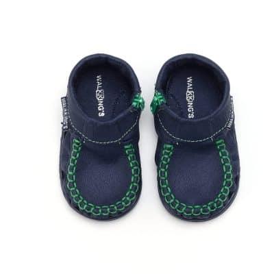 Walkkings-Zip-Around-Baby-Kids-Todder-First-Step-Shoes-Dark-Blue-Top