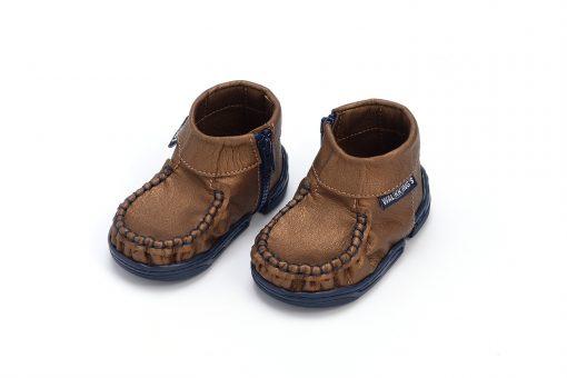 Walkkings-Zip-Around-Baby-Kids-Todder-First-Step-Shoes-Dark-Brown-Shiny-Side