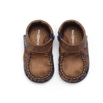 Walkkings-Zip-Around-Baby-Kids-Todder-First-Step-Shoes-Dark-Brown-Shiny-Top