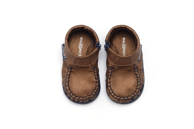 Walkkings-Zip-Around-Baby-Kids-Todder-First-Step-Shoes-Dark-Brown-Shiny-Top