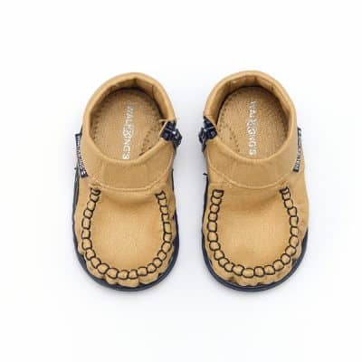 Walkkings-Zip-Around-Baby-Kids-Todder-First-Step-Shoes-Gold-Top