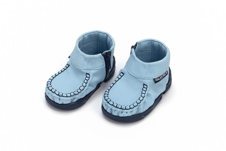 Walkkings-Zip-Around-Baby-Kids-Todder-First-Step-Shoes-Light-Blue-Side