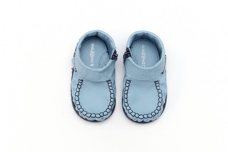 Walkkings-Zip-Around-Baby-Kids-Todder-First-Step-Shoes-Light-Blue-Top