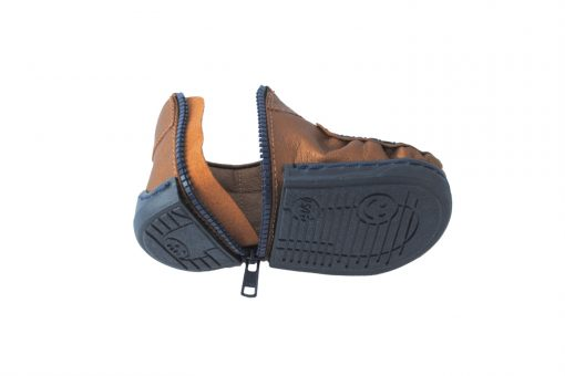 Walkkings-Zip-Around-Baby-Kids-Todder-First-Step-Shoes-bronze-Unzipped