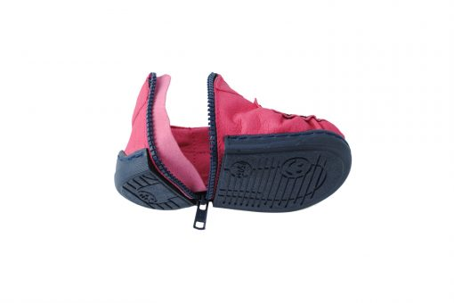 Walkkings-Zip-Around-Baby-Kids-Todder-First-Step-Shoes-fuschia-Unzipped