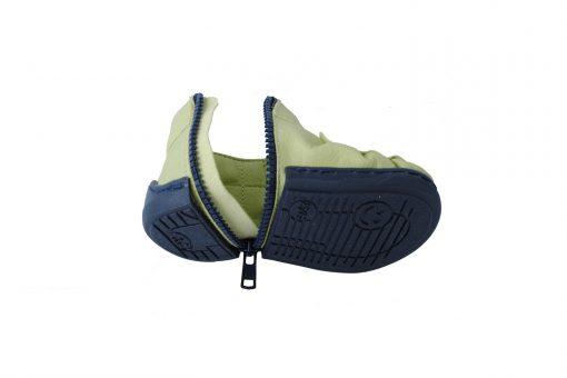 Walkkings-Zip-Around-Baby-Kids-Todder-First-Step-Shoes-green-Unzipped