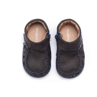 Walkkings-Zip-Around-Baby-Kids-Todder-First-Step-Shoes-Dark-Brown-Top